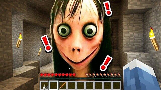 Minecraft'ta görüldüğü iddia edilen Momo karakteri.