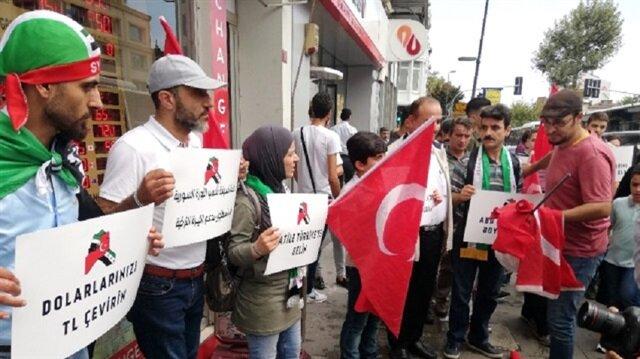 وقفة لتنسيقية الثورة السورية دعماً لليرة التركية في اسطنبول