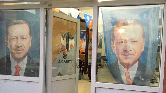 Eskişehir'in Mahmudiye ilçesinde AK Parti İlçe Başkanlığı'nın saldırı sonucu camları kırıldı.