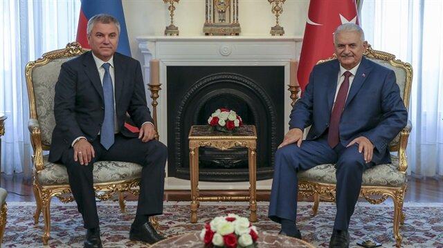 رئيس البرلمان التركي يلتقي رئيس الدوما الروسي