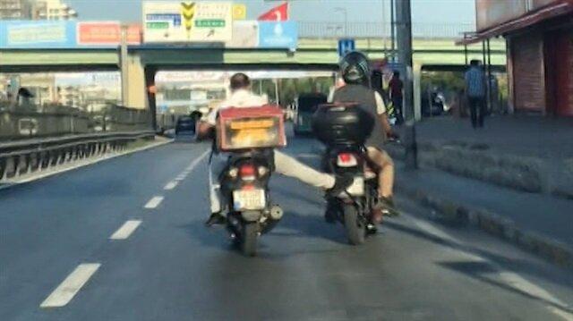 Benzini biten motosiklete pes dedirten yardım