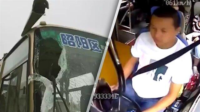 İnanılmaz kaza: Şoföre çarpan kaya kamerada