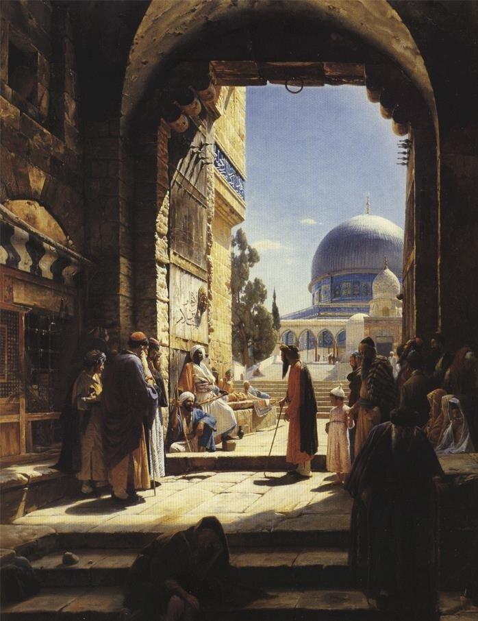 """Gustav Bauernfeind'in Kudüs ziyareti sırasında resmettiği """"Mescid-i Aksâ'nın girişinde"""" tablosu."""