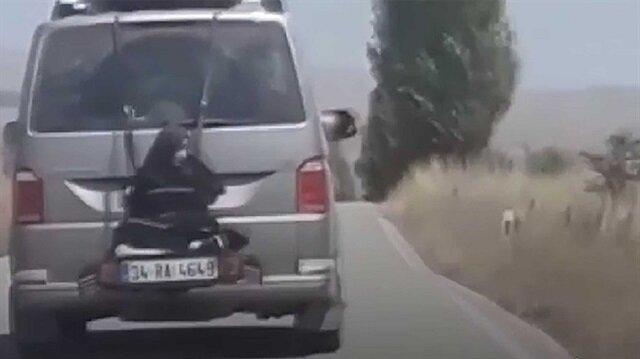 Minibüsün arkasına iple bağlanıp taşınan kadının görüntüsü büyük tepki çekmişti.