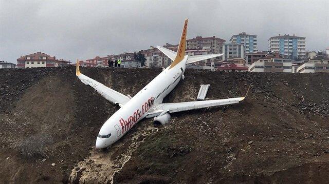 Trabzon'da pistten çıkan yolcu uçağı son anda denize düşmekten kurtulmuş ve facianın eşiğinden dönülmüştü.