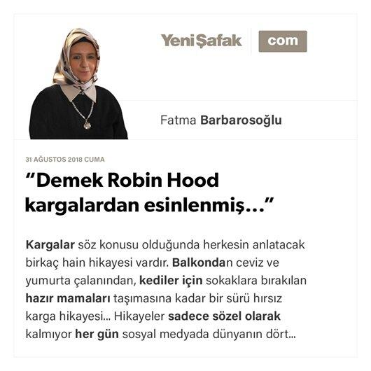 """""""Demek Robin Hood kargalardan esinlenmiş..."""""""
