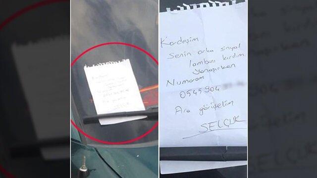 Aracına çarptığı kişiye not bırakan sürücü, kaza sonrası oluşan maddi hasarı karşıladı.