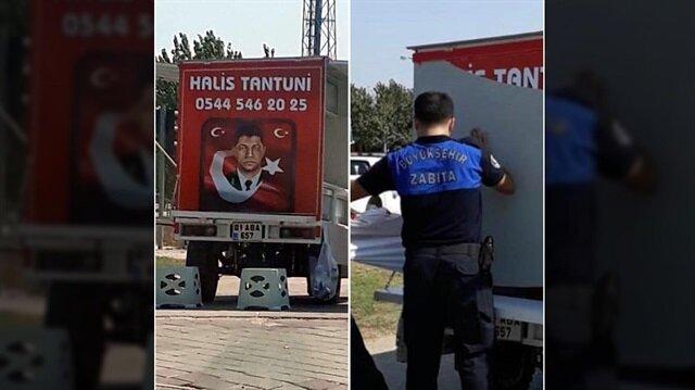 Şehit Ömer Halisdemir ismini kullanan tantunicinin tezgahı zabıta ekiplerince söküldü.