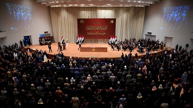 Iraqi lawmakers are seen during the first session of the new Iraqi parliament in Baghdad, Iraq September 3