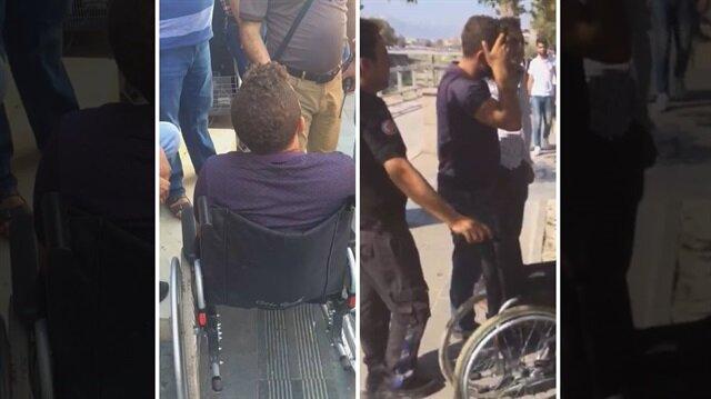 Zabıta ekiplerini karşısında gören sahte dilenci, dilendiği tekerlekli sandalyeden sağlam bir şekilde ayağa kalktı.