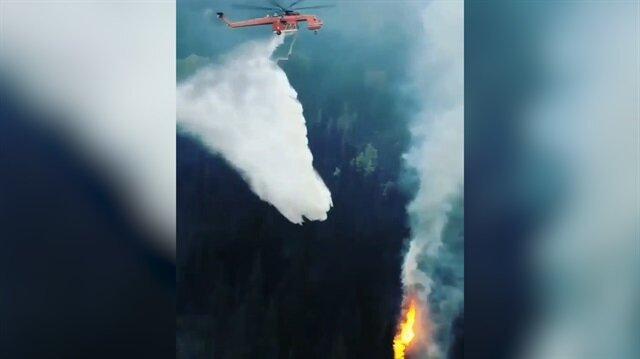 Yangın söndürme helikopterinin tam isabetle yangına müdahalesi