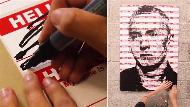 Yok böyle bir yetenek: Market etiketlerinden sanat icra etti