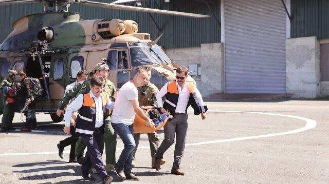 Kaçkar Dağları'na tırmanırken yaralanan Doç. Dr. Mücahit Avcil, askeri helikopterle hastaneye kaldırıldı.