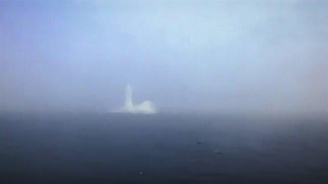 Denize düşen helikopterin düşme anı kamerada!