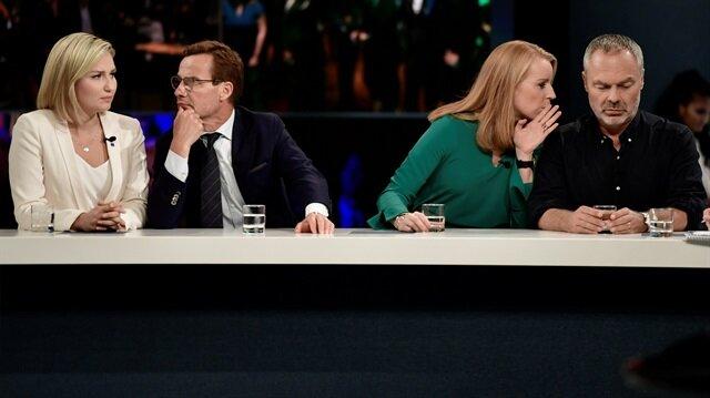 İsveç'te ittifak parti liderleri Ebba Busch Thor, Ulf Kristersson, Annie Loof and Jan Bjorklund