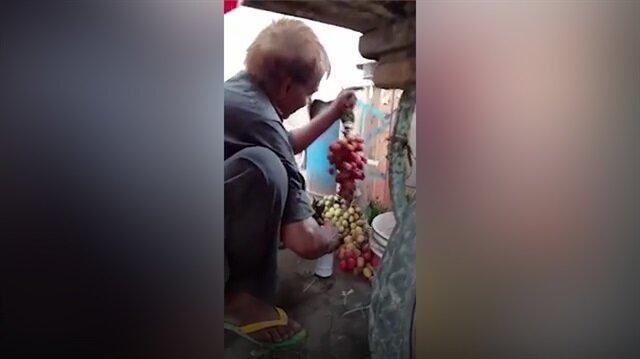 Çürük üzümleri boyayan sahtekar pazarcı skandalı