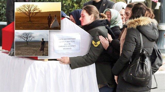 Afrin'de şehit düşen Fatih Mehmethan'ın eşi, düğün albümlerinde yer alan kareleri tek başına çekildi.