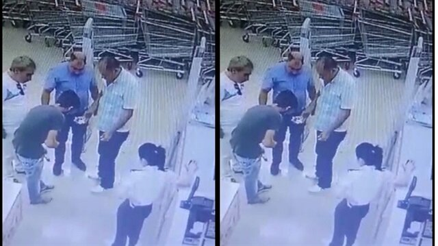 Hırsızlık anı marketin güvenlik kameralarınca kaydedildi.