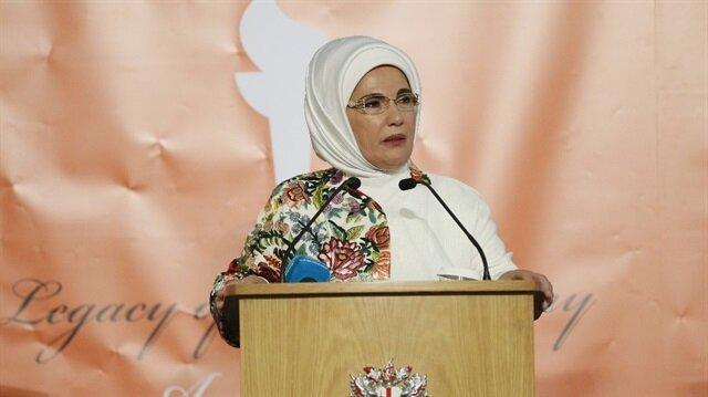 Emine Erdoğan, Londra Belediyesinin ev sahipliğinde Mansion House'da düzenlenen törende konuştu.