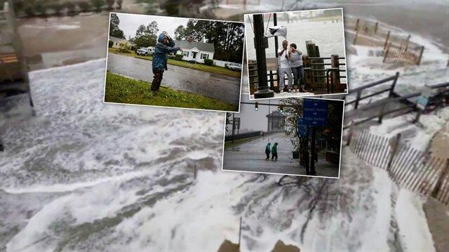 ABD'nin doğusundaki eyaletler, Florence Kasırgası'nın etkisi altına girmeye başladı. Bölgeden çarpıcı fotoğraflar geliyor. (AA, Reuters)