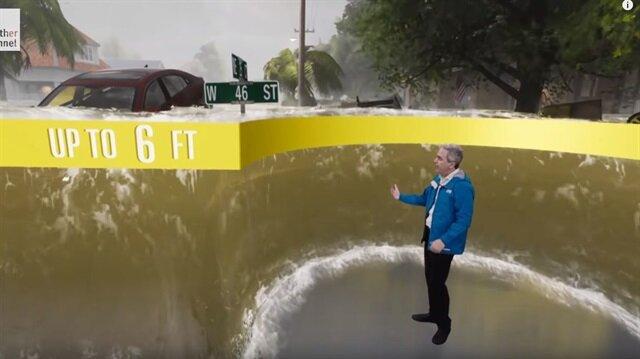 Meteoroloji uzmanı Greg Postel, kasırganın ne kadar tehlikeli olacağını 3 boyutlu olarak televizyonda gösteriyor.