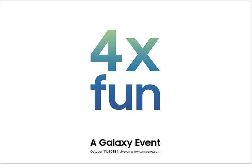 Dört arka kameralı Samsung'un yeni akıllı telefonunun tanıtım davetiyesi.