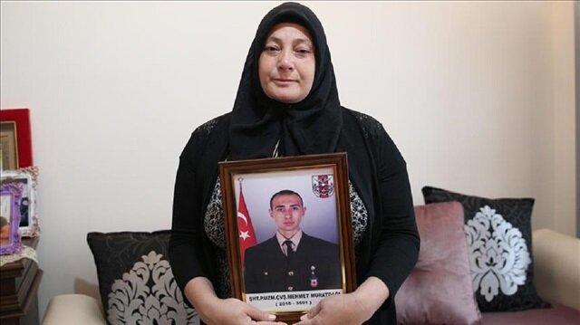 Zeytin Dalı Harekatı sırasında 23 Ocak'ta şehit düşen Piyade Uzman Çavuş Mehmet Muratdağı'nın annesi Sibel Muratdağı