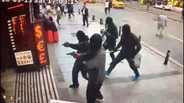 Şişli'de döviz bürosu soygun anıları kamerada
