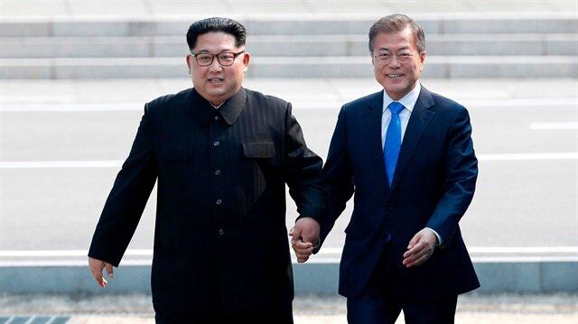 Güney Kore Devlet Başkanı Moon Jae-in ile Kuzey Kore lideri Kim Jong-un