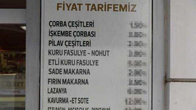 Lokantanın fiyat listesi sosyal medyanın gündeminde.