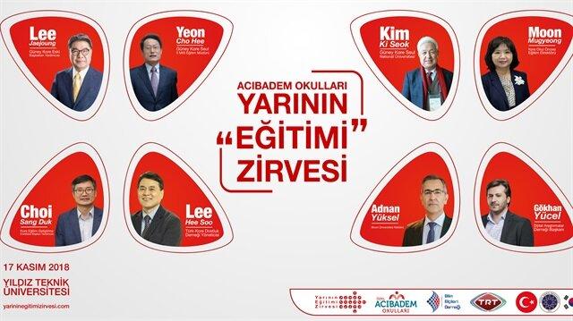 Yarının Eğitimi Zirvesi, Acıbadem Okullarının isim sponsorluğuyla ve Güney Kore'nin katılımıyla 17 Kasım'da İstanbul'da gerçekleşecek.