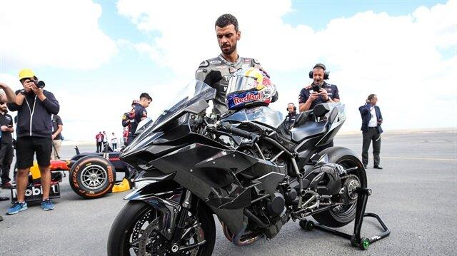 Kenan Sofuoğlu perform with his Kawasaki motorcycle at 'Teknofest Istanbul'