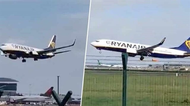 شاهد: لحظات رعب لطائرة أخفقت بالهبوط في مطار بالمملكة المتحدة بسبب العواصف