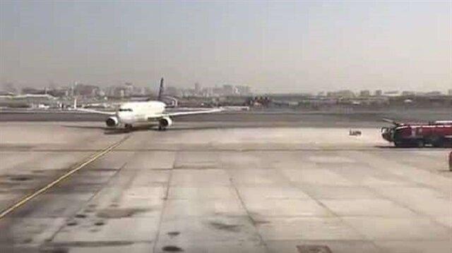 شاهد: كيف احتفل مطار دبي بطائرة سعودية في اليوم الوطني
