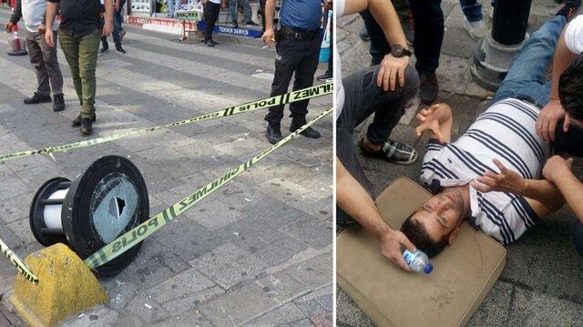 Kadıköy'de caddede yürürken üzerine sokak lambası düştü