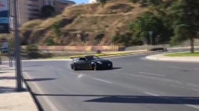 İstanbul'da lüks otomobille 'drift' terörü kamerada