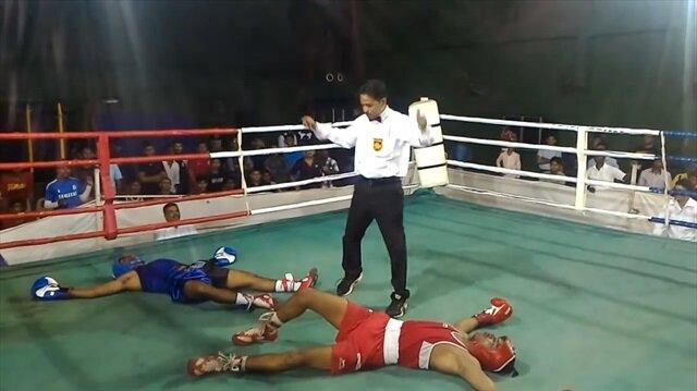 Boks maçında eşine az rastlanır olay : Çift nakavt