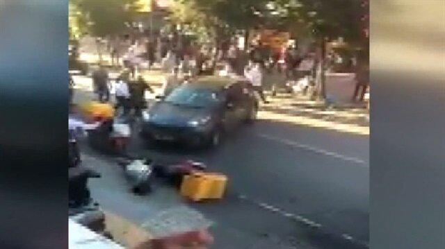 İstanbul'da dehşet anları: Aracı vatandaşların üzerine sürdü