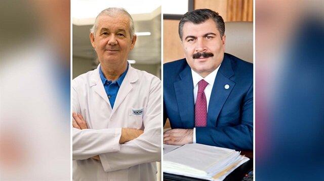 Sağlık Bakanı Fahrettin Koca ve öldürülen Ruh ve Sinir Hastalıkları Uzmanı Dr. Fikret Hacıosman.