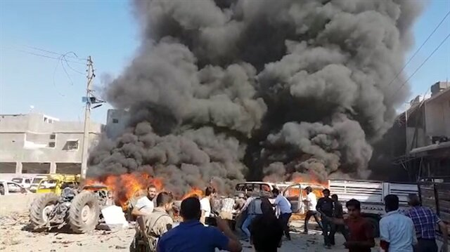 Azezdeki bombalı saldırıdan ilk görüntüler