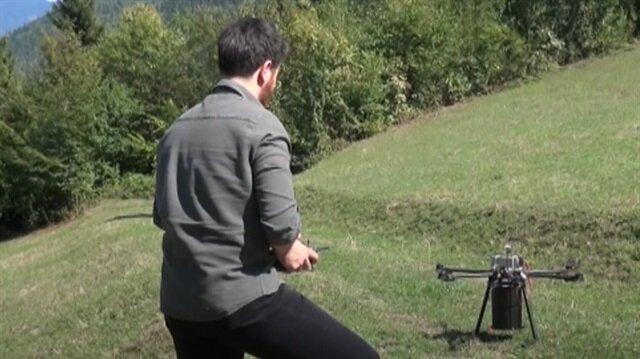 Drone ile ormana tohum ekiyorlar