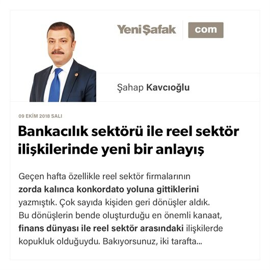 Bankacılık sektörü ile reel sektör ilişkilerinde yeni bir anlayış