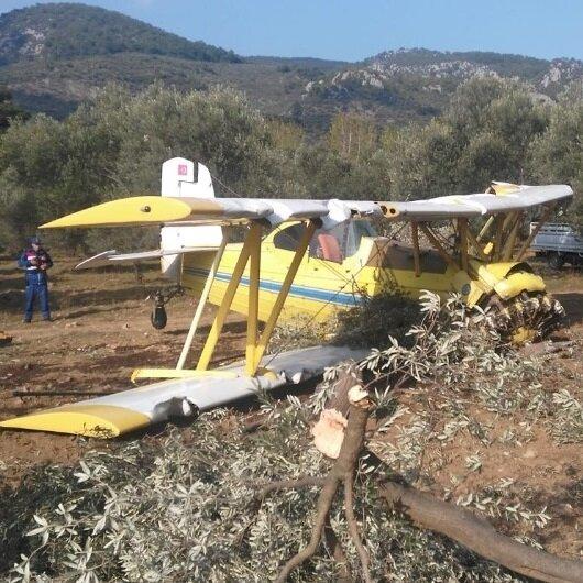 Balıkesir Edremit'te uçak düştü