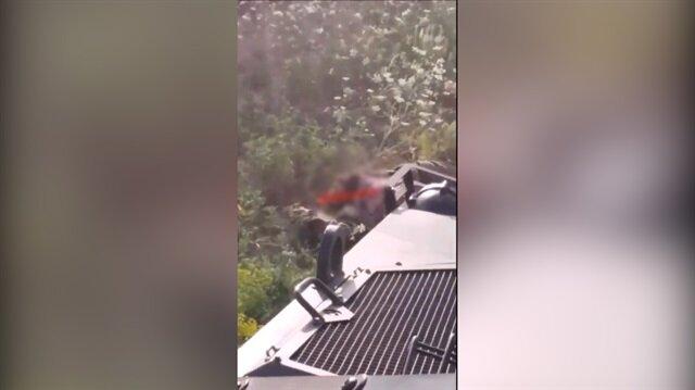 Mehmetçik el bombası atan teröristi kobra aracıyla ezdi