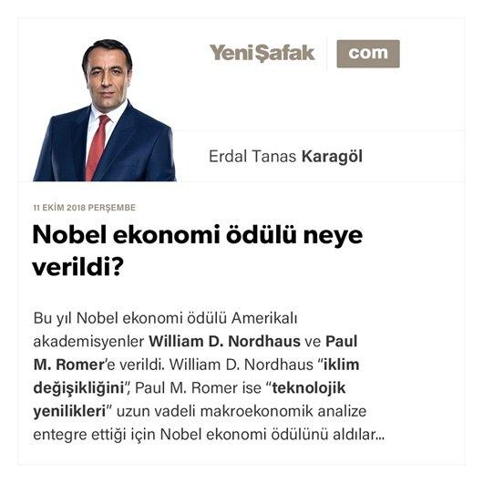 Nobel ekonomi ödülü neye verildi?