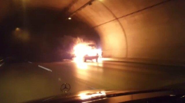 Tünelde alev alev yanan araç infilak etti
