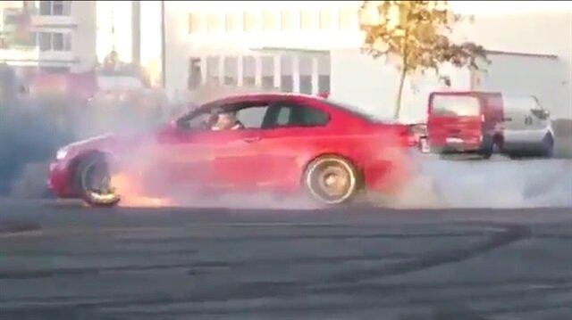 Drift yapmaya çalışırken BMWyi cayır cayır yaktı