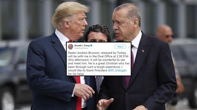 Trump'tan Cumhurbaşkanı Erdoğan'a 'Brunson' teşekkürü
