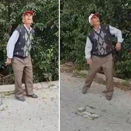 Hayatında ilk defa drone gören yaşlı adamın komik tepkisi