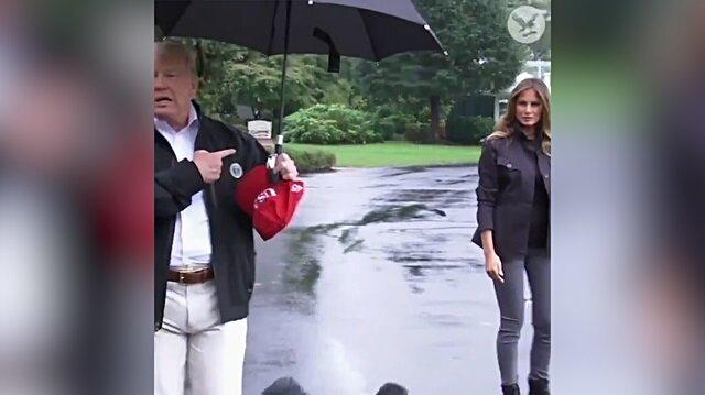 Trump'tan tartışma yaratan 'şemsiye' olayı